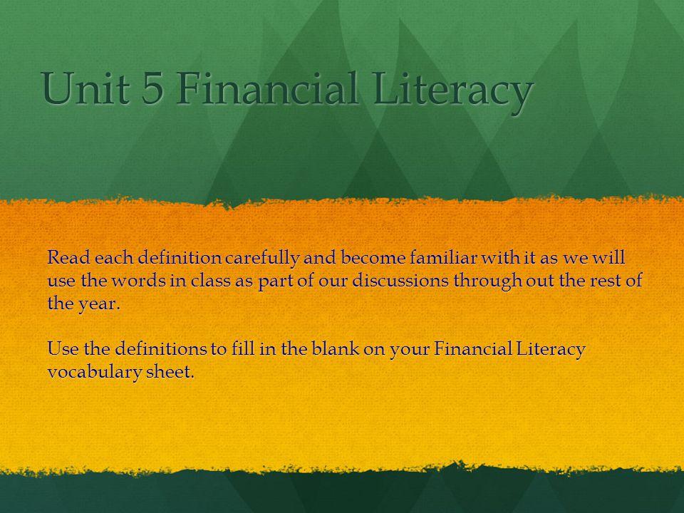 Financial Literacy 1.