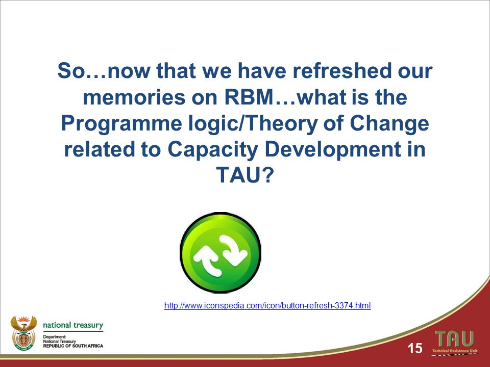So…now that we have refreshed our memories on RBM…what is the Programme logic/Theory of Change related to Capacity Development in TAU.