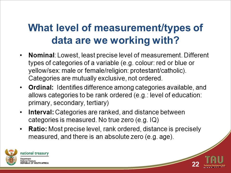 What level of measurement/types of data are we working with.