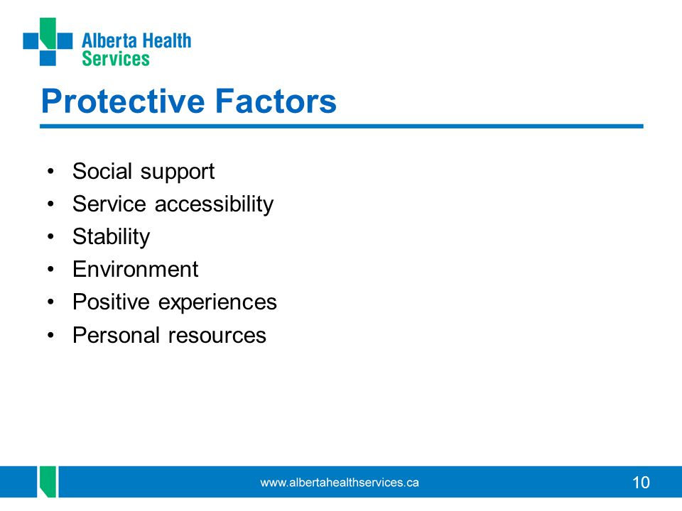 10 Protective Factors Social support Service accessibility Stability Environment Positive experiences Personal resources