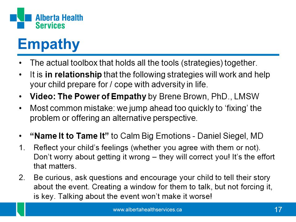 17 Empathy The actual toolbox that holds all the tools (strategies) together. It is in relationship that the following strategies will work and help y