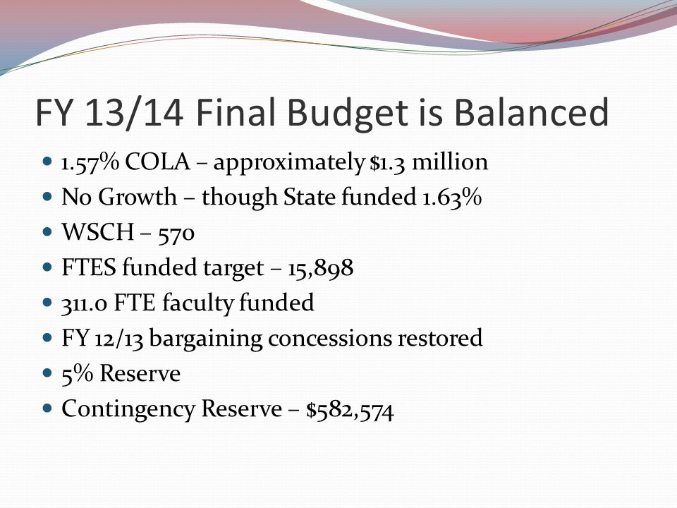 FY 13/14 Final Budget is Balanced 1.57% COLA – approximately $1.3 million No Growth – though State funded 1.63% WSCH – 570 FTES funded target – 15,898 311.0 FTE faculty funded FY 12/13 bargaining concessions restored 5% Reserve Contingency Reserve – $582,574