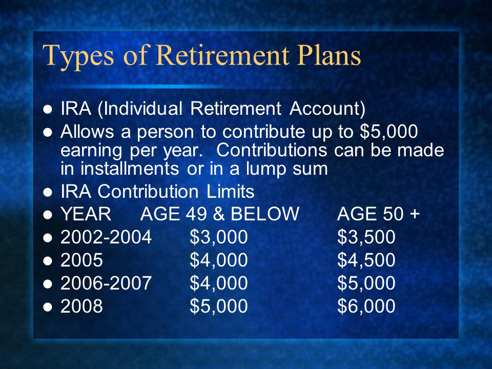 Types of Retirement Plans IRA (Individual Retirement Account) Allows a person to contribute up to $5,000 earning per year.