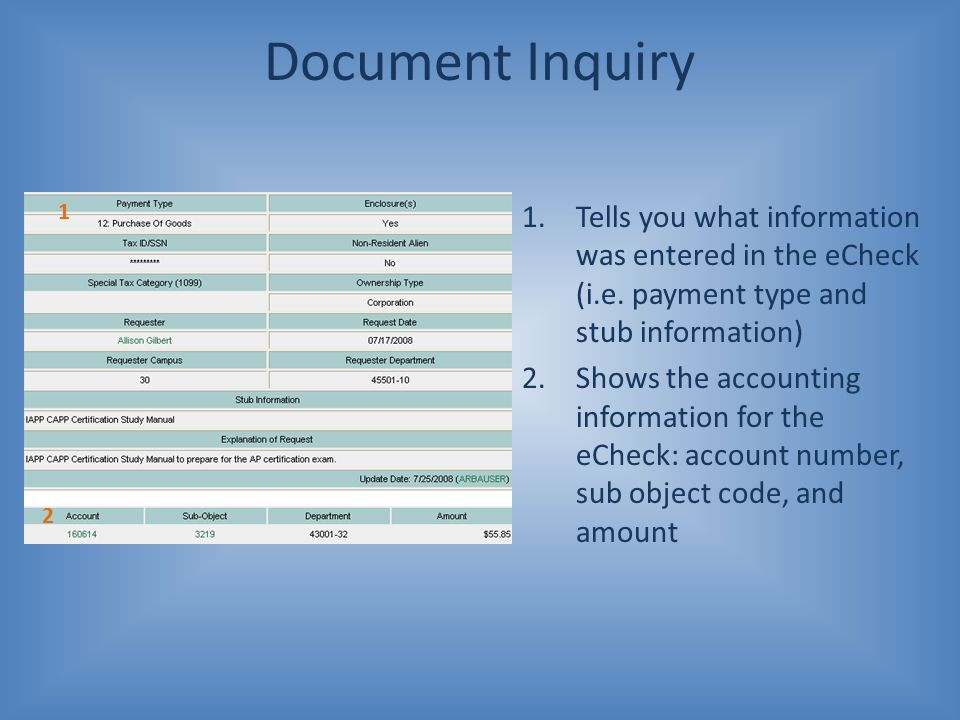 Document Inquiry 1.Tells you what information was entered in the eCheck (i.e. payment type and stub information) 2.Shows the accounting information fo