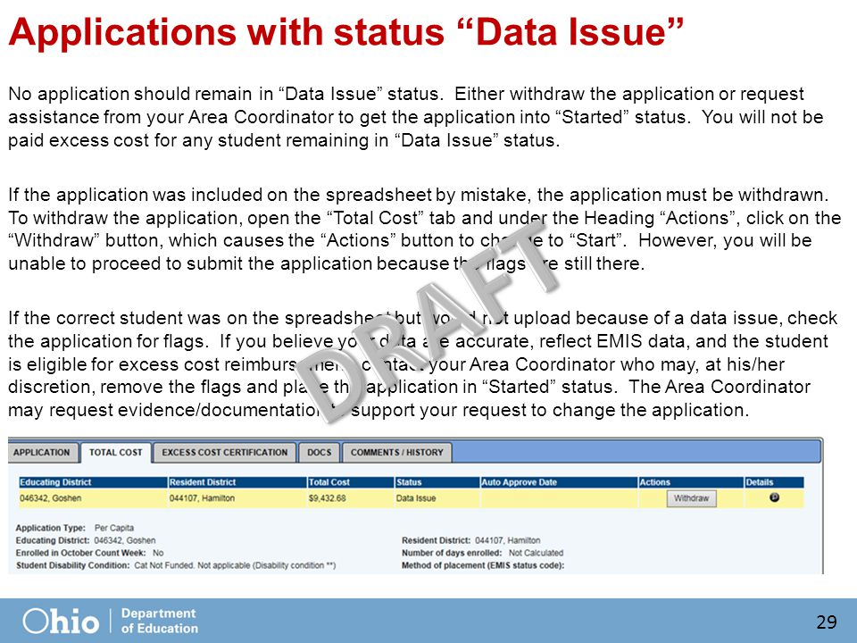 Applications with status Data Issue No application should remain in Data Issue status.