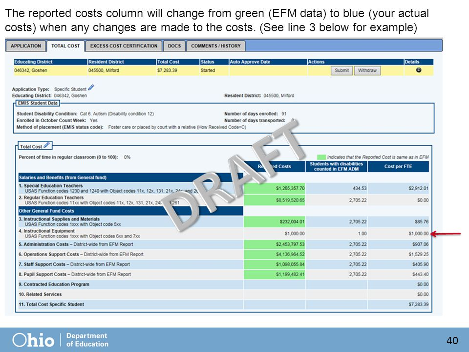 The reported costs column will change from green (EFM data) to blue (your actual costs) when any changes are made to the costs. (See line 3 below for