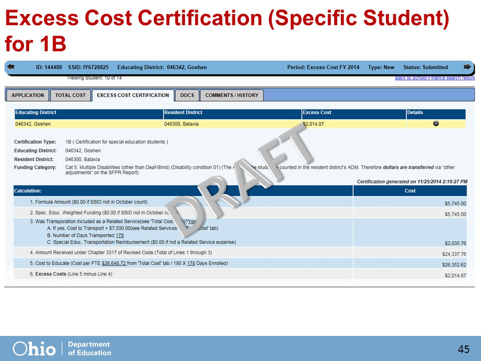 Excess Cost Certification (Specific Student) for 1B 45