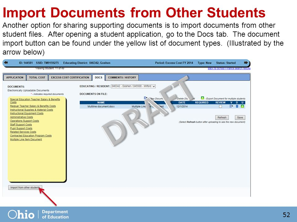 Import Documents from Other Students Another option for sharing supporting documents is to import documents from other student files.