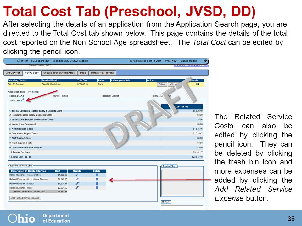 Total Cost Tab (Preschool, JVSD, DD) After selecting the details of an application from the Application Search page, you are directed to the Total Cost tab shown below.