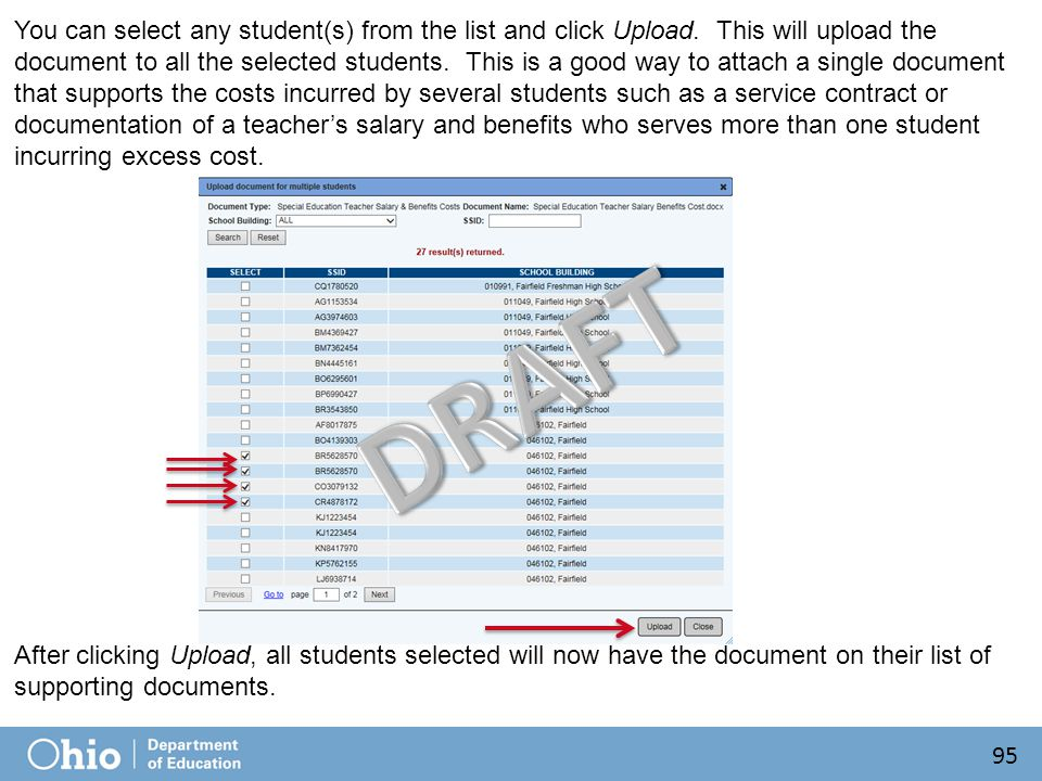 You can select any student(s) from the list and click Upload.