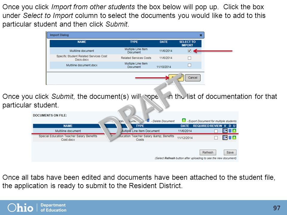 Once you click Import from other students the box below will pop up.