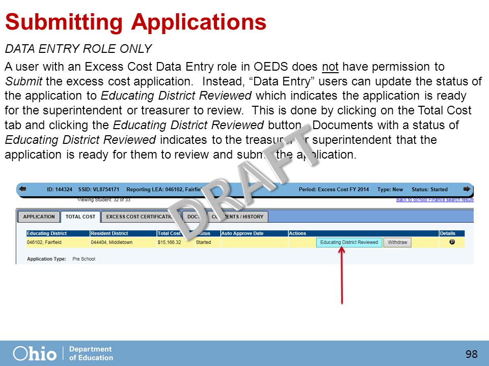 Submitting Applications DATA ENTRY ROLE ONLY A user with an Excess Cost Data Entry role in OEDS does not have permission to Submit the excess cost application.