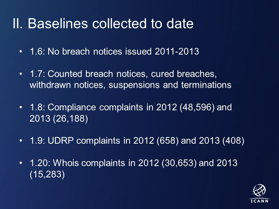Text II. Baselines collected to date 1.6: No breach notices issued 2011-2013 1.7: Counted breach notices, cured breaches, withdrawn notices, suspensio