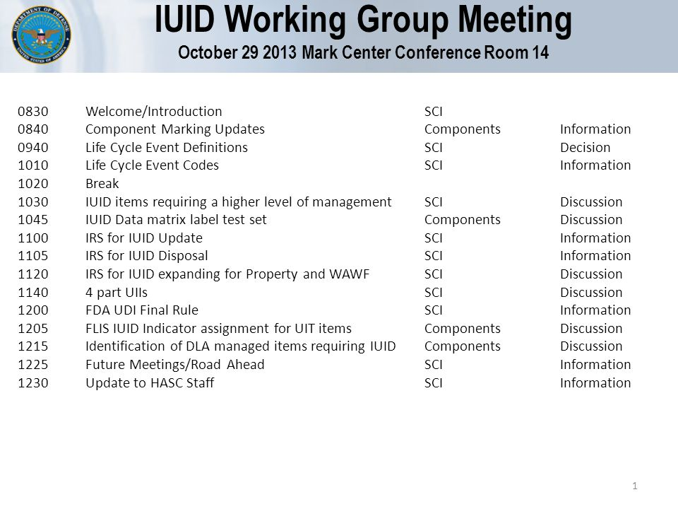 IUID Working Group Meeting October 29 2013 Mark Center Conference Room 14 0830Welcome/IntroductionSCI 0840Component Marking UpdatesComponentsInformation 0940Life Cycle Event DefinitionsSCIDecision 1010Life Cycle Event CodesSCIInformation 1020Break 1030IUID items requiring a higher level of managementSCIDiscussion 1045IUID Data matrix label test set ComponentsDiscussion 1100IRS for IUID UpdateSCIInformation 1105IRS for IUID Disposal SCIInformation 1120IRS for IUID expanding for Property and WAWFSCIDiscussion 11404 part UIIsSCIDiscussion 1200FDA UDI Final RuleSCIInformation 1205FLIS IUID Indicator assignment for UIT items ComponentsDiscussion 1215Identification of DLA managed items requiring IUIDComponentsDiscussion 1225Future Meetings/Road AheadSCIInformation 1230Update to HASC StaffSCIInformation 1
