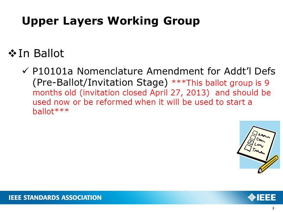 Upper Layers Working Group  In Ballot P10101a Nomenclature Amendment for Addt'l Defs (Pre-Ballot/Invitation Stage) ***This ballot group is 9 months o
