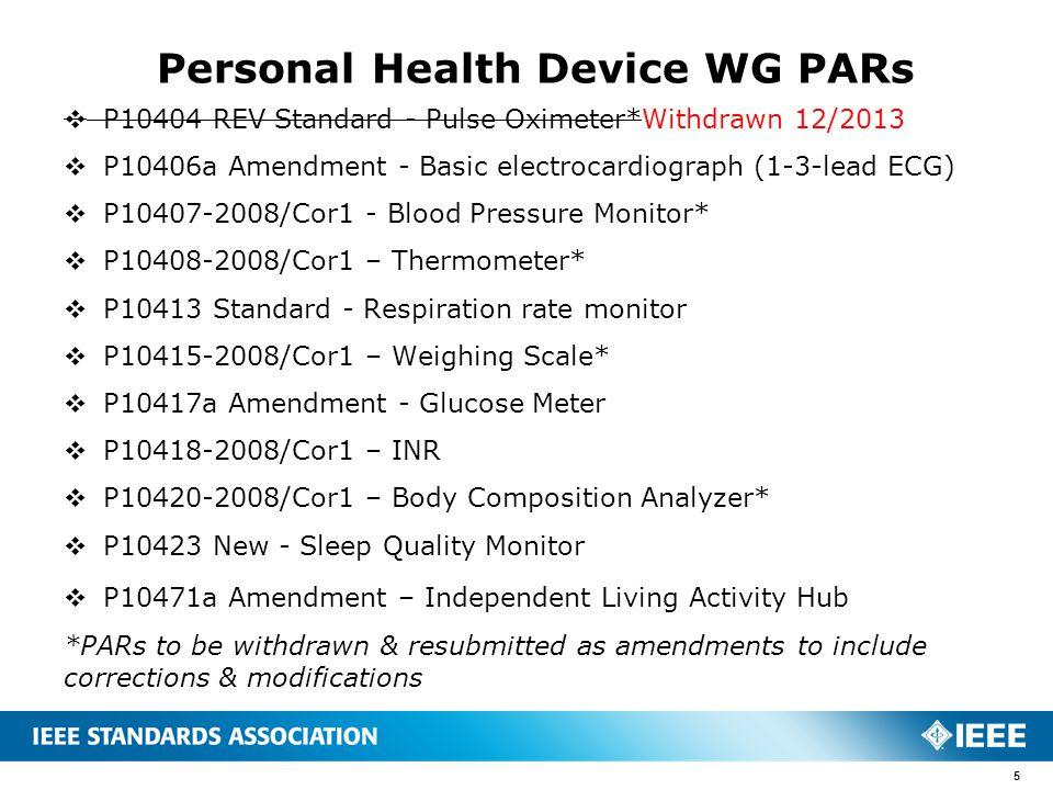  P10404 REV Standard - Pulse Oximeter*Withdrawn 12/2013  P10406a Amendment - Basic electrocardiograph (1-3-lead ECG)  P10407-2008/Cor1 - Blood Pres