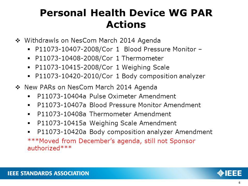  Withdrawls on NesCom March 2014 Agenda  P11073-10407-2008/Cor 1 Blood Pressure Monitor –  P11073-10408-2008/Cor 1 Thermometer  P11073-10415-2008/
