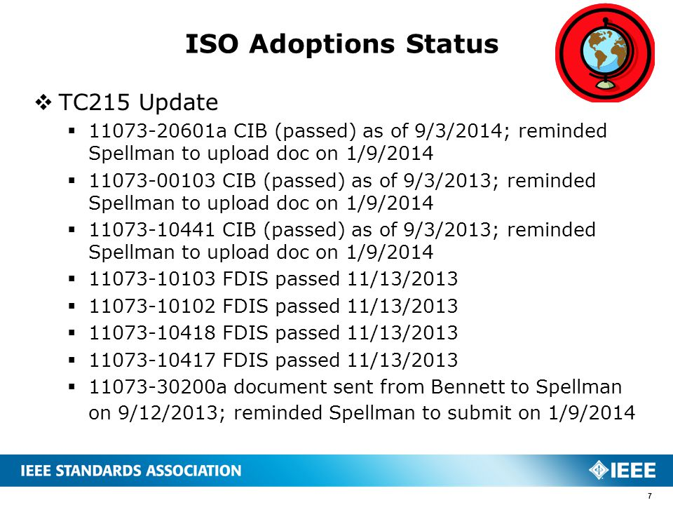 TC215 Update  11073-20601a CIB (passed) as of 9/3/2014; reminded Spellman to upload doc on 1/9/2014  11073-00103 CIB (passed) as of 9/3/2013; remi