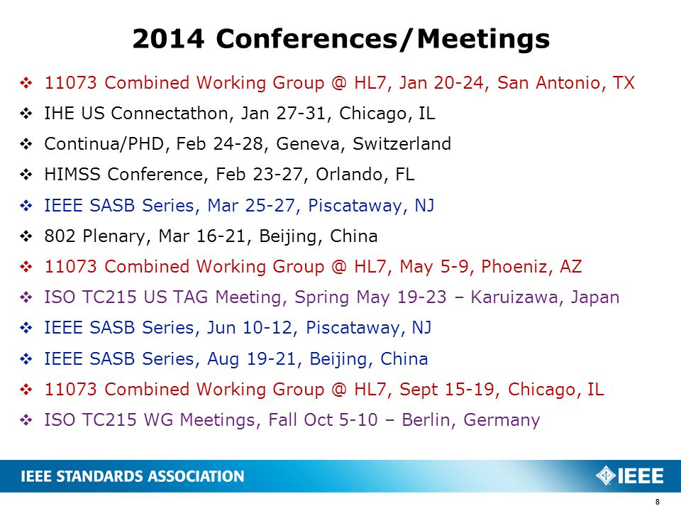 2014 Conferences/Meetings  11073 Combined Working Group @ HL7, Jan 20-24, San Antonio, TX  IHE US Connectathon, Jan 27-31, Chicago, IL  Continua/PH