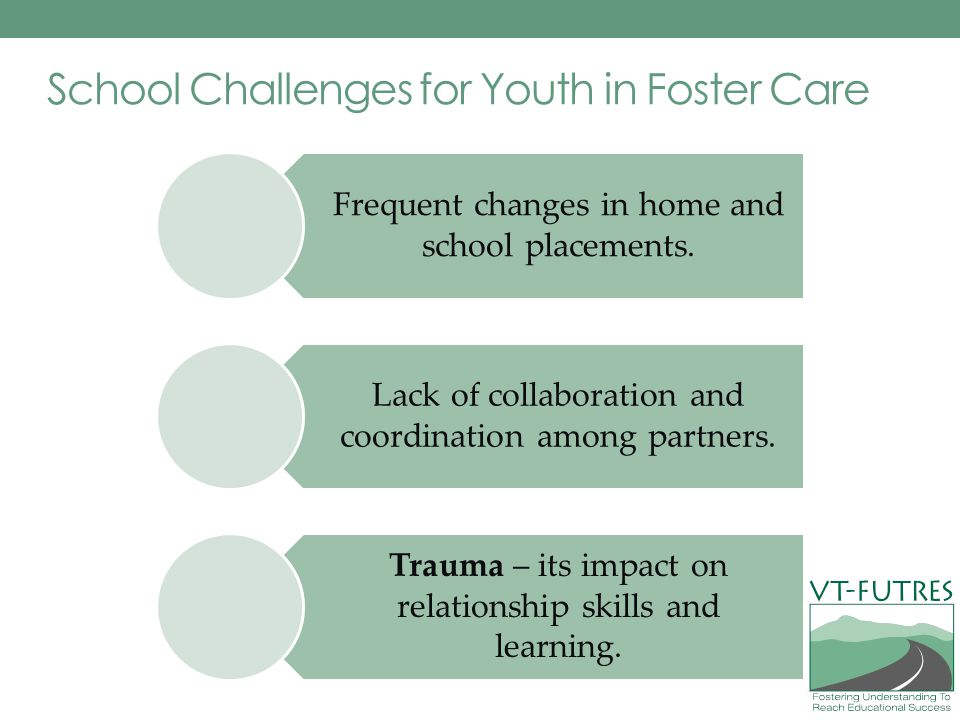 School Challenges for Youth in Foster Care Frequent changes in home and school placements.