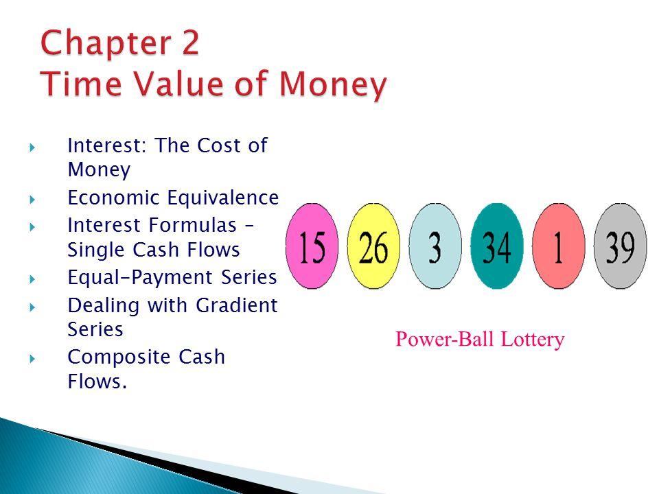  Interest: The Cost of Money  Economic Equivalence  Interest Formulas – Single Cash Flows  Equal-Payment Series  Dealing with Gradient Series  Composite Cash Flows.