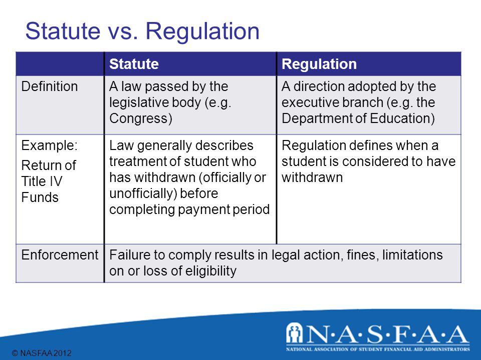 © NASFAA 2012 Statute vs.