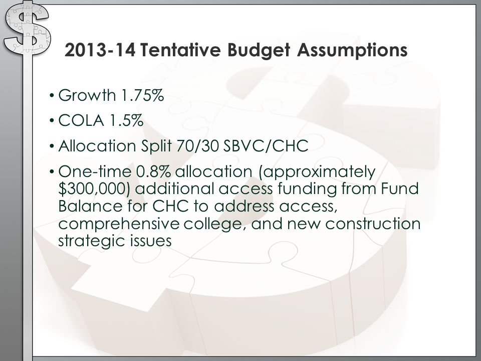 Growth 1.75% COLA 1.5% Allocation Split 70/30 SBVC/CHC One-time 0.8% allocation (approximately $300,000) additional access funding from Fund Balance for CHC to address access, comprehensive college, and new construction strategic issues 2013-14 Tentative Budget Assumptions