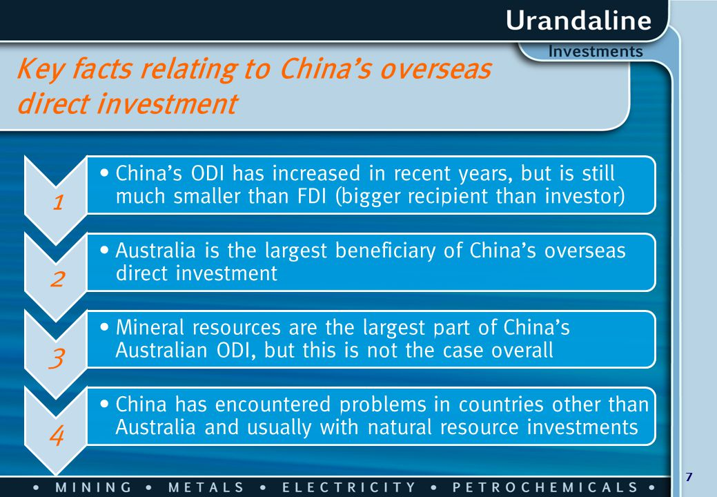 7 Key facts relating to China's overseas direct investment 1 China's ODI has increased in recent years, but is still much smaller than FDI (bigger rec