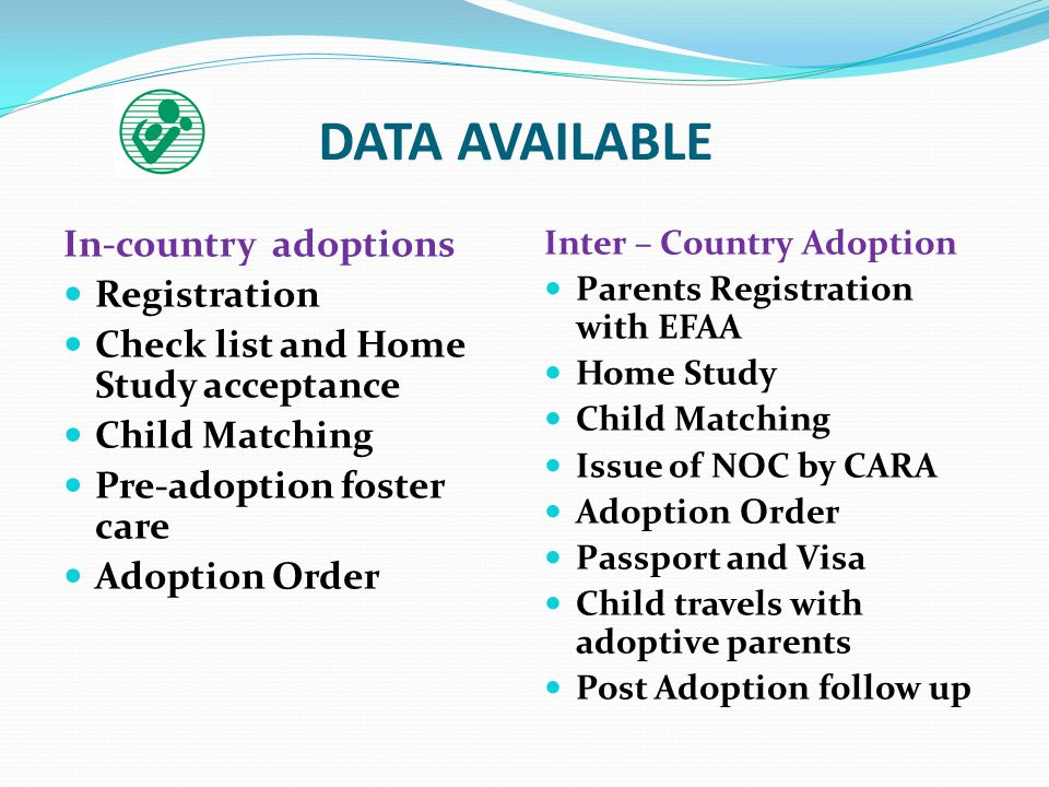 DATA AVAILABLE In-country adoptions Registration Check list and Home Study acceptance Child Matching Pre-adoption foster care Adoption Order Inter – Country Adoption Parents Registration with EFAA Home Study Child Matching Issue of NOC by CARA Adoption Order Passport and Visa Child travels with adoptive parents Post Adoption follow up