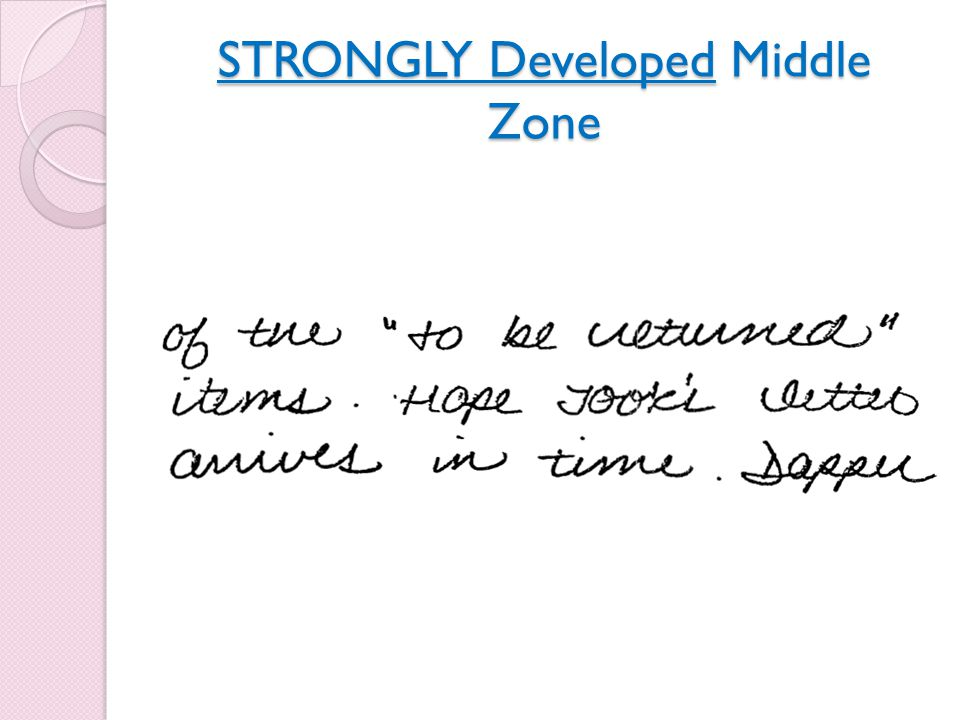 STRONGLY Developed Middle Zone