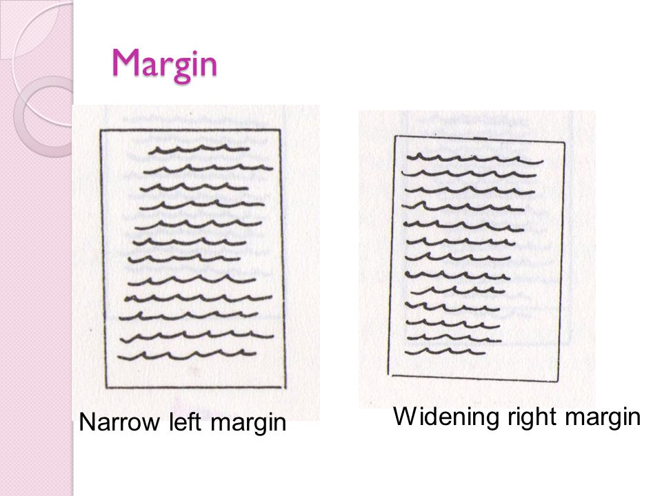 Margin Narrow left margin Widening right margin