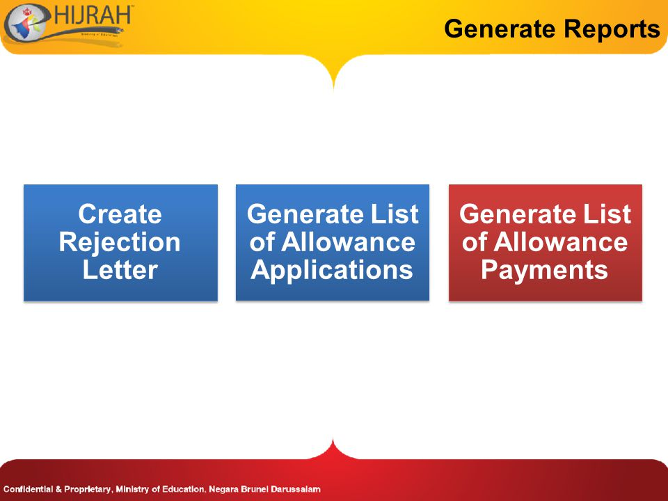 Generate Reports Create Rejection Letter Generate List of Allowance Applications Generate List of Allowance Payments