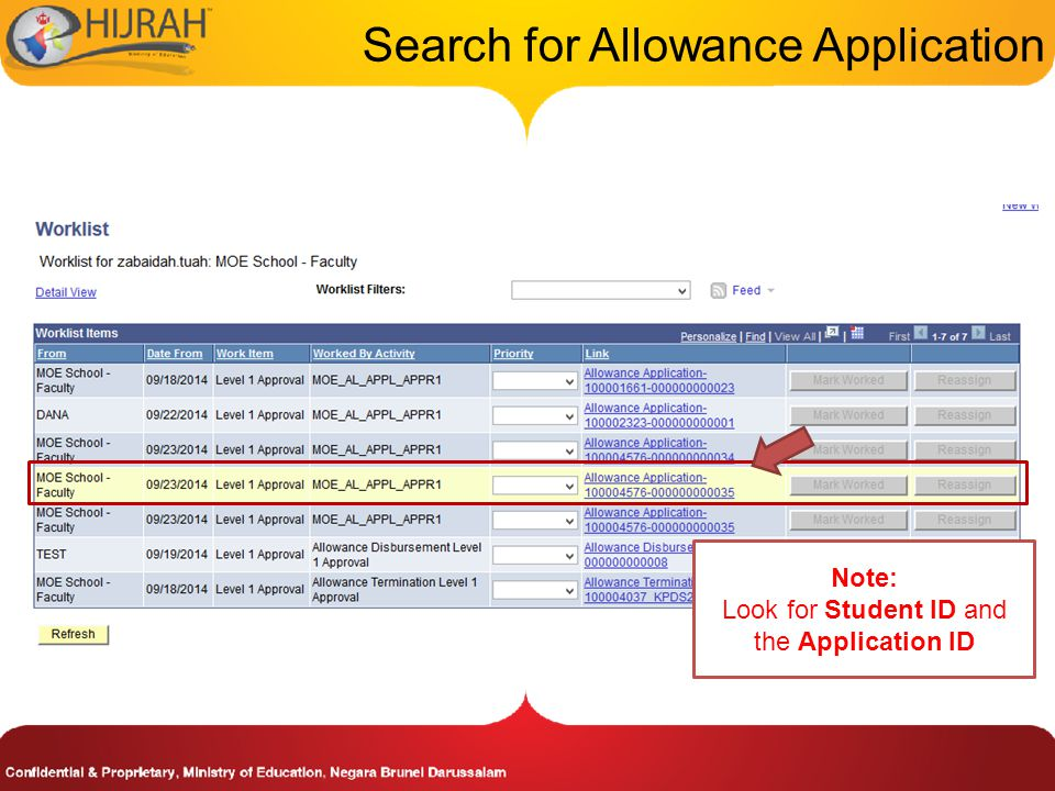 Search for Allowance Application Note: Look for Student ID and the Application ID