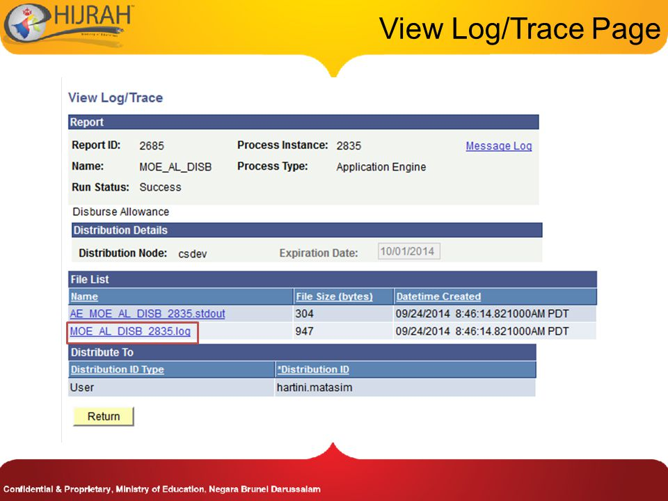 View Log/Trace Page