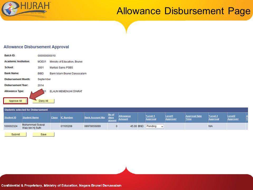 Allowance Disbursement Page