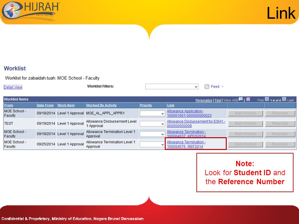 Link Note: Look for Student ID and the Reference Number