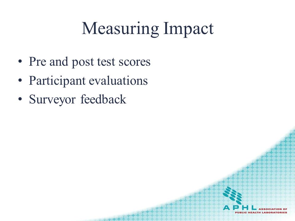 Measuring Impact Pre and post test scores Participant evaluations Surveyor feedback