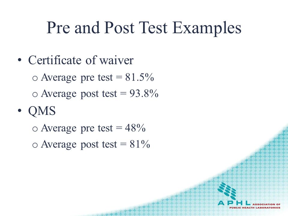 Pre and Post Test Examples Certificate of waiver o Average pre test = 81.5% o Average post test = 93.8% QMS o Average pre test = 48% o Average post test = 81%