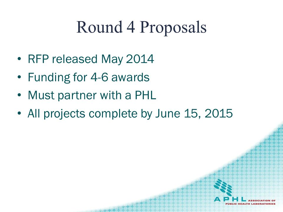 Round 4 Proposals RFP released May 2014 Funding for 4-6 awards Must partner with a PHL All projects complete by June 15, 2015