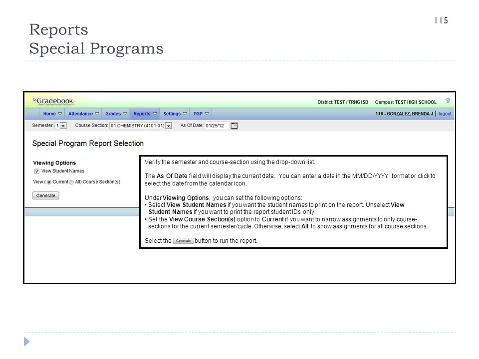 Reports Special Programs Verify the semester and course-section using the drop-down list. The As Of Date field will display the current date. You can