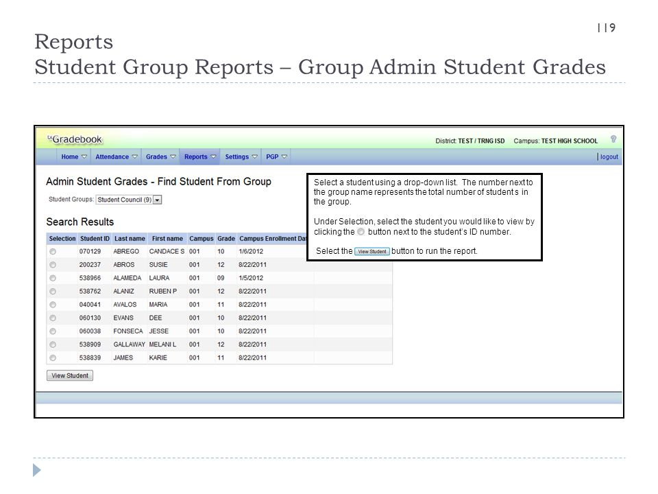 Reports Student Group Reports – Group Admin Student Grades Select a student using a drop-down list. The number next to the group name represents the t