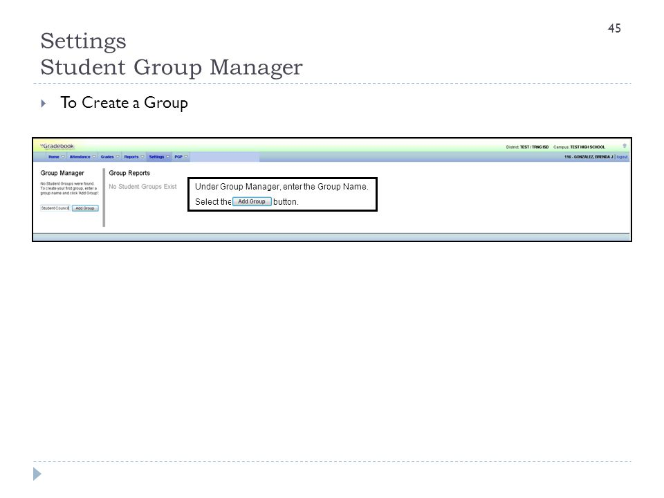 Settings Student Group Manager  To Create a Group Under Group Manager, enter the Group Name. Select the button. 45