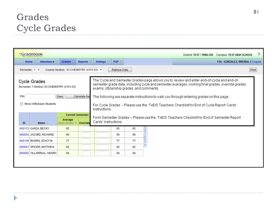 Grades Cycle Grades The Cycle and Semester Grades page allows you to review and enter end-of-cycle and end-of- semester grade data, including cycle an