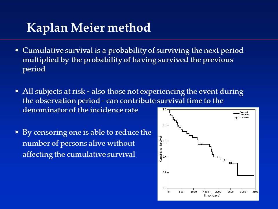 Kaplan Meier method Cumulative survival is a probability of surviving the next period multiplied by the probability of having survived the previous period All subjects at risk - also those not experiencing the event during the observation period - can contribute survival time to the denominator of the incidence rate By censoring one is able to reduce the number of persons alive without affecting the cumulative survival