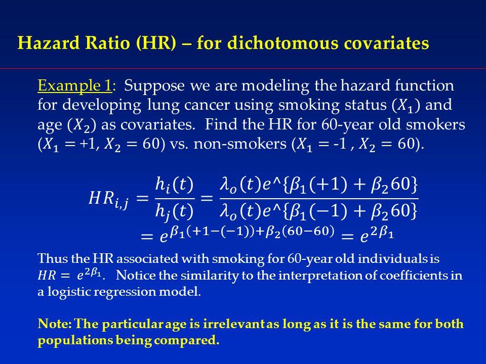 Hazard Ratio (HR) – for dichotomous covariates