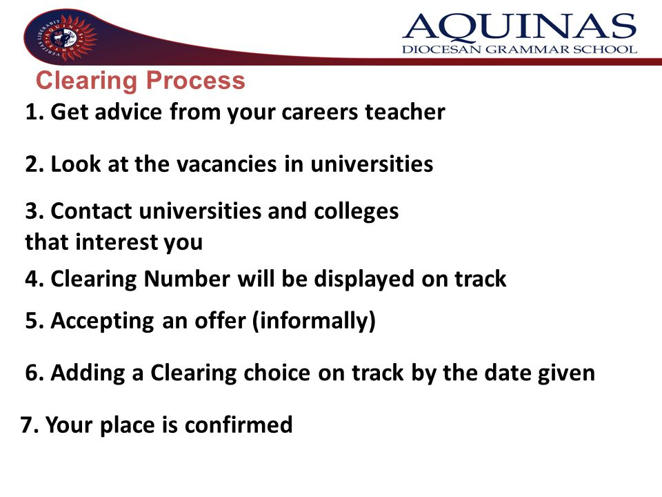 1. Get advice from your careers teacher 2. Look at the vacancies in universities 3. Contact universities and colleges that interest you 4. Clearing Nu
