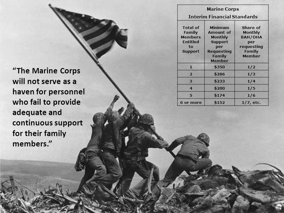 The Marine Corps will not serve as a haven for personnel who fail to provide adequate and continuous support for their family members. Marine Corps Interim Financial Standards Total of Family Members Entitled to Support Minimum Amount of Monthly Support per Requesting Family Member Share of Monthly BAH/OHA per requesting Family Member 1$3501/2 2$2861/3 3$2331/4 4$2001/5 5$1741/6 6 or more$1521/7, etc.