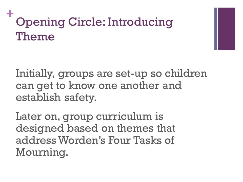 + Opening Circle: Introducing Theme Initially, groups are set-up so children can get to know one another and establish safety.