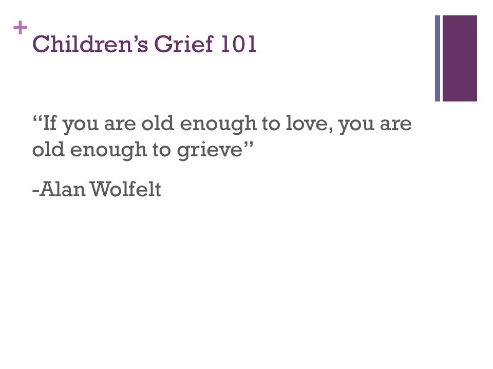 + Children's Grief and Development: Overview Grief is about the absence rather than the concept that person is dead Perception of the world, including death, is based in the five senses.