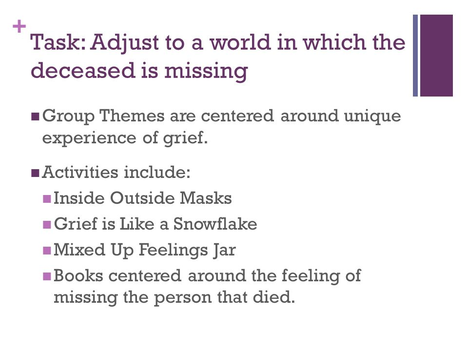 + Task: Adjust to a world in which the deceased is missing Group Themes are centered around unique experience of grief.